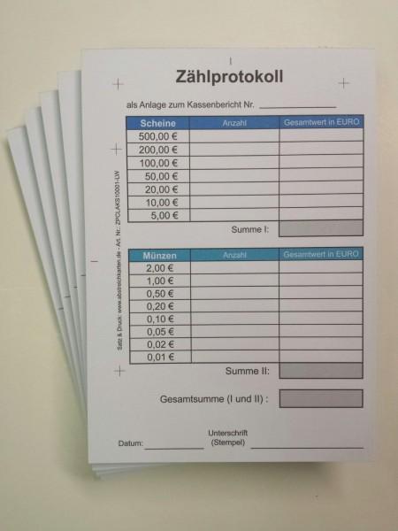 Zählprotokolle im Block von www.abstreichkarten.de