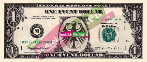 Event Dollar Spielgeld von www.abstreichkarten.de
