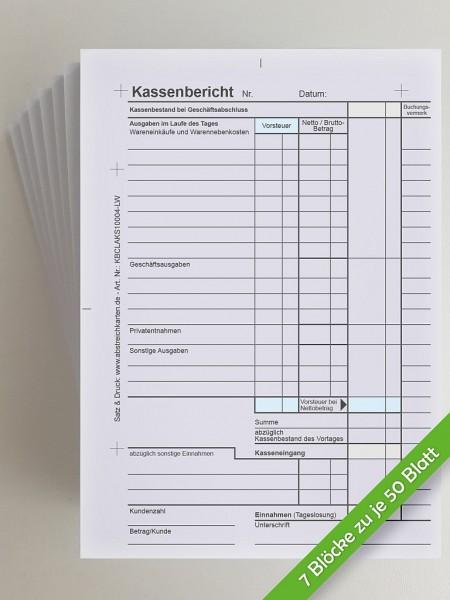 Kassenbericht DIN A6 im Block von www.abstreichkarten.de